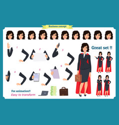 set of super businesswoman character design vector image