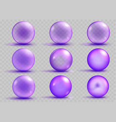 Set of transparent and opaque purple spheres vector