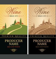 Set of wine labels with european village landscape vector