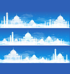 Set three backgrounds with muslim feast the vector