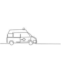 Single continuous line drawing hospital vector