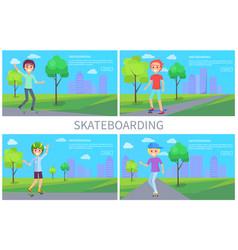 Skateboarding banner set vector