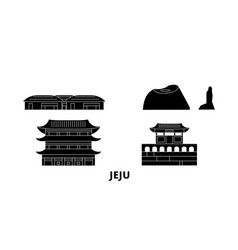 south korea jeju flat travel skyline set south vector image