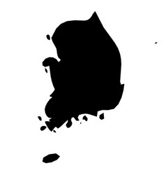 south korea - solid black silhouette map of vector image