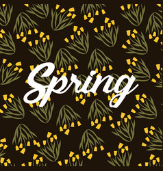 Spring bunch yellow flower shape bell decoration vector