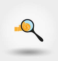 stack coins under magnifying glass icon vector image