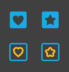 Star and heart icons vector