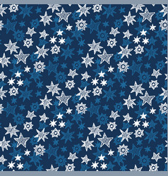 star and snowflakes seamless pattern vector image