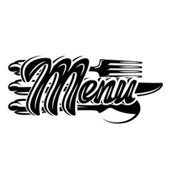stylish lettering menu with set cutlery vector image