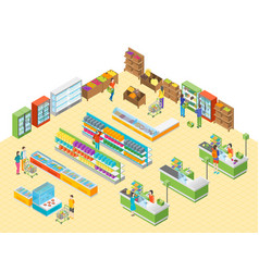 supermarket or shop interior with furniture vector image