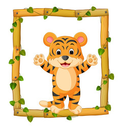 tiger on the wood frame with roots and leaf vector image