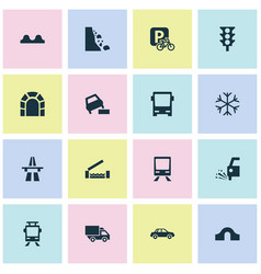 Transport icons set with risk river beware and vector