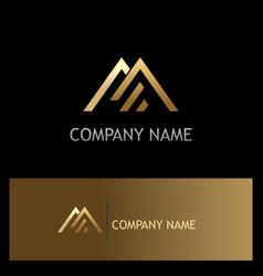 triangle line gold company logo vector image