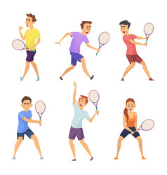 various tennis players characters in vector image