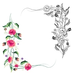 Vignette of ornamental flowers vector