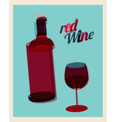 Vintage poster bottle of red wine and glass vector