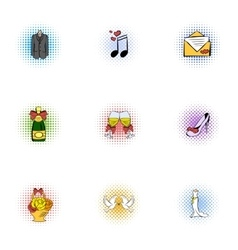 Wedding celebration icons set pop-art style vector image