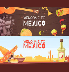 welcome to mexico horizontal banners vector image