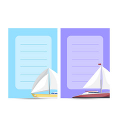 Yachting and cruising card with sailboats vector