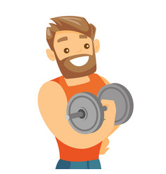young caucasian white bodybuilder lifting dumbbell vector image vector image