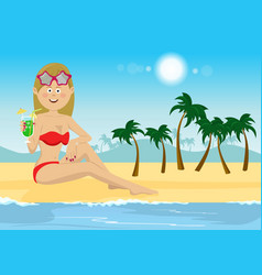 Young woman with cocktail sitting on beach vector