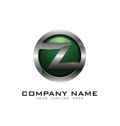 z 3d circle chrome letter logo icon design vector image