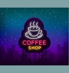 coffee neon sign logo emblem vector image vector image