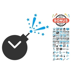 Time Fireworks Charge Icon With 2017 Year Bonus vector image