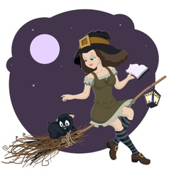 Beautiful young witch broom with cat vector image