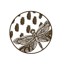 dragonfly hand drawn silhouette round plate design vector image vector image