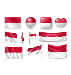 set monaco flags banners banners symbols flat vector image vector image