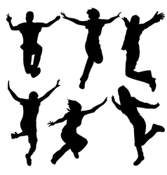 silhouette people jumping dance vector image