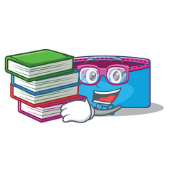 student with book pencil case character cartoon vector image