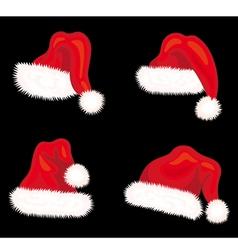 Winter Santa claus hats set vector image vector image