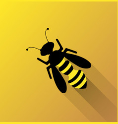 bee on yellow background vector image vector image