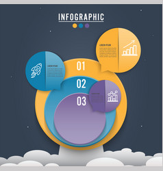 circle infographic template three option process vector image