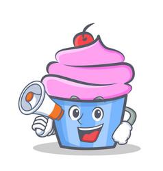 cupcake character cartoon style megaphone vector image vector image