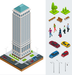 isometric city modern flat buildings financial vector image vector image