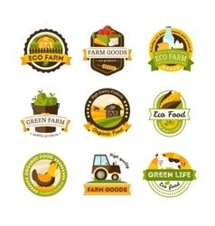 Organic Food Farm Emblems vector image