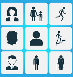 people icons set collection of gentleman family vector image vector image