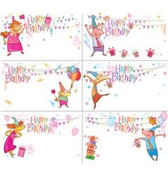 Set of Happy Birthday cards vector image vector image