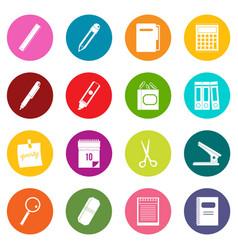 stationery symbols icons many colors set vector image