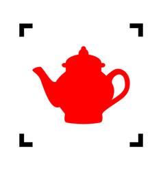 tea maker sign red icon inside black vector image vector image