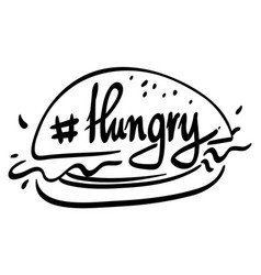 Word for hungry with hamburger vector