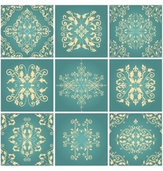 Abstract damask patterns set vector image vector image
