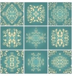 Abstract damask patterns set vector image