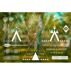 Collection of Native American tribal stylized vector image vector image
