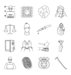 Crime set icons in outline style Big collection vector image