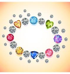 Gems oval frame vector image