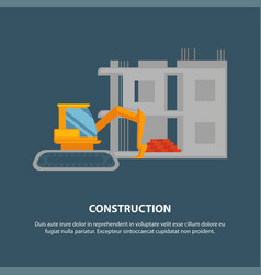 home construction with yellow excavator graphic vector image vector image